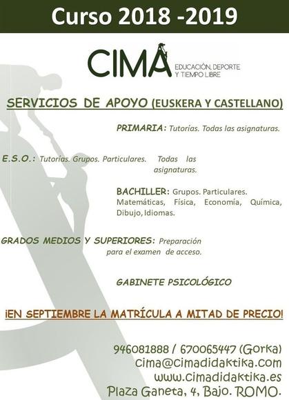 CLASES DE REFUERZO. CURSO 2018-2019: Servicios   de Cima Didaktika