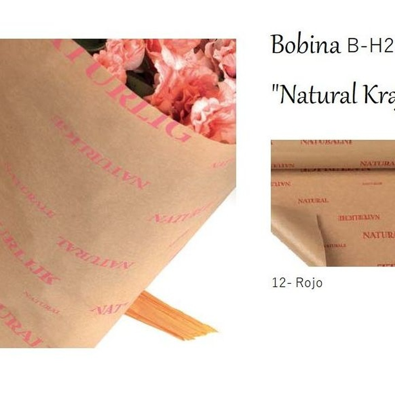 "BOBINA DE PAPEL KRAFT ESTAMPADO NATURAL ""NATURALE KRAFT"" (45GR 0,70X50MT)/ 12 (ROJO) REF: B-H276C PRECIO: 12,00€"