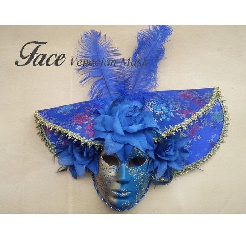Máscara con brillantina y tela volto sombrero grande: Máscaras y antifaces de Face Venecian Mask