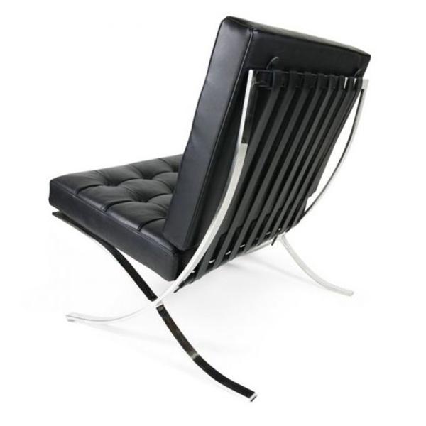 sillón Barcelona de una plaza en piel negra.vista trasera