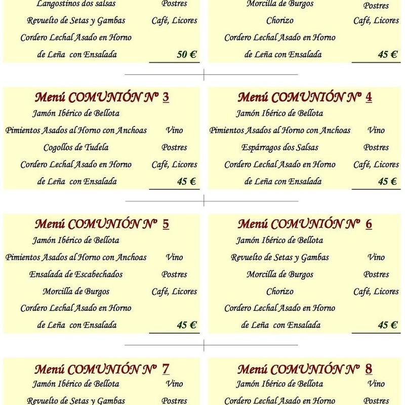 Menú comuniones : Menús  de ASADOR SAN LORENZO