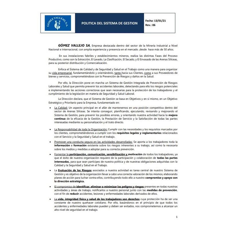 Política del Sistema de Gestión Gómez Vallejo SA: Productos y Servicios de Gómez Vallejo, S.A. Arenas Silíceas Especiales
