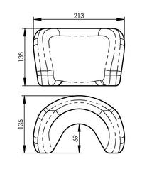 Cabezal blando de poliuretano para sillas de ruedas CB22
