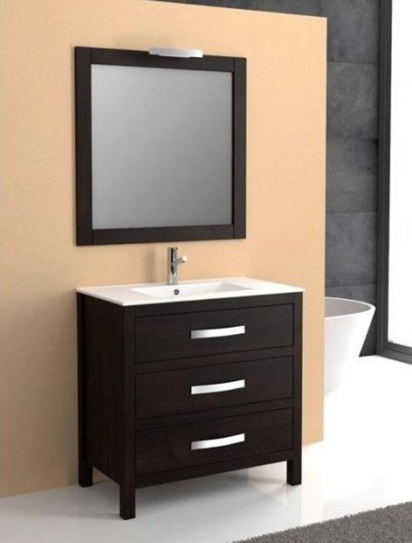 Mueble Segre wengué de 80 con encimera de loza, espejo y foco