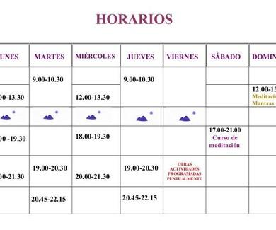 HORARIOS Y TARIFAS SHANTI 2018-2019