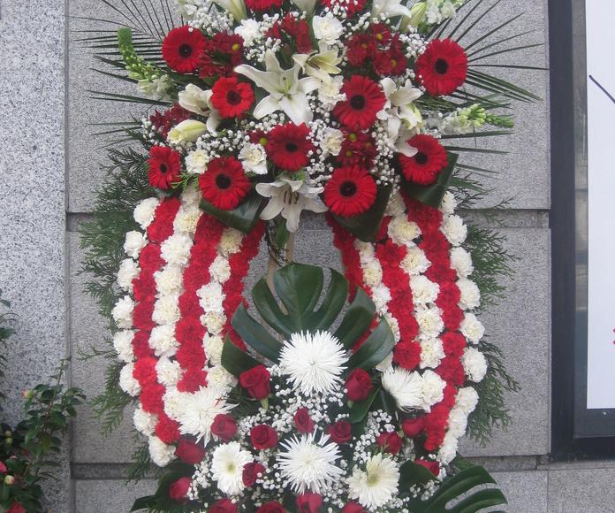 corona funeral con los colores del Atletic