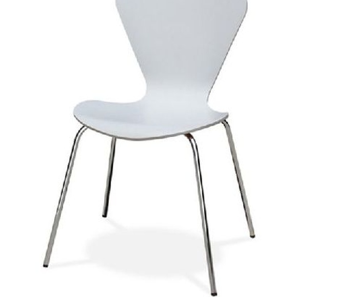 silla danesa fija lacada en blanco