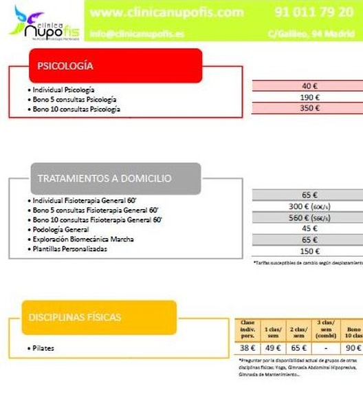 Precios clínica Nupofis 2