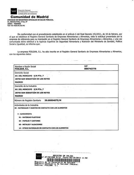 Certificado registro sanitario