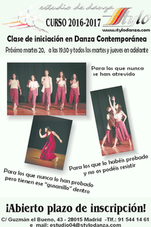 Clase de iniciación a la Danza Contemporánea
