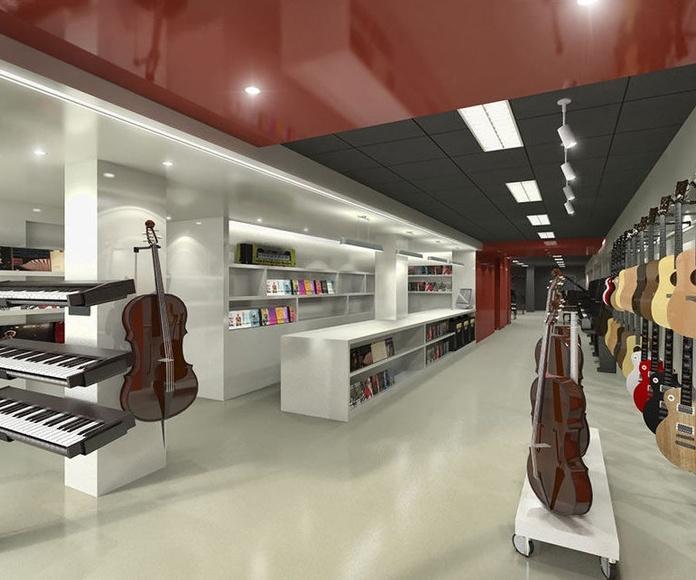 Diseño y reforma de tienda de instrumentos musicales en l'Eixample, Barcelona