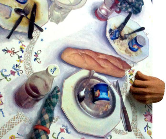 Fotografía, óleo, acetato y escultura de barro sobre tabla.