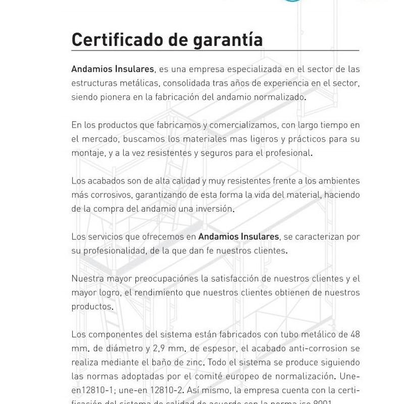 Certificado de Garantía: Productos y servicios de Andamios Insulares