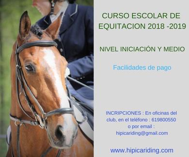 Curso escolar de equitación 2018-2019