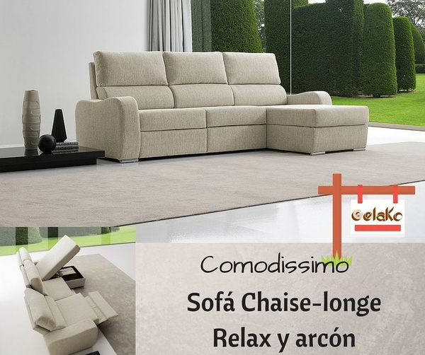 Gran Sofá multi-posicional con chaise-longe arcón