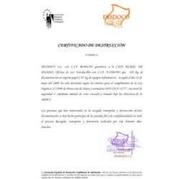 Certificado de destrucción : Servicios de Desdoco