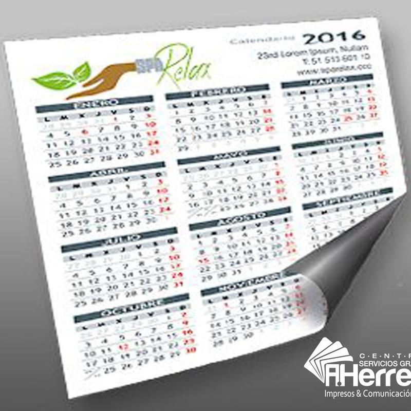 Calendario Imán de usar y borrar: Catálogo de Servicios Gráficos A.HERRERA