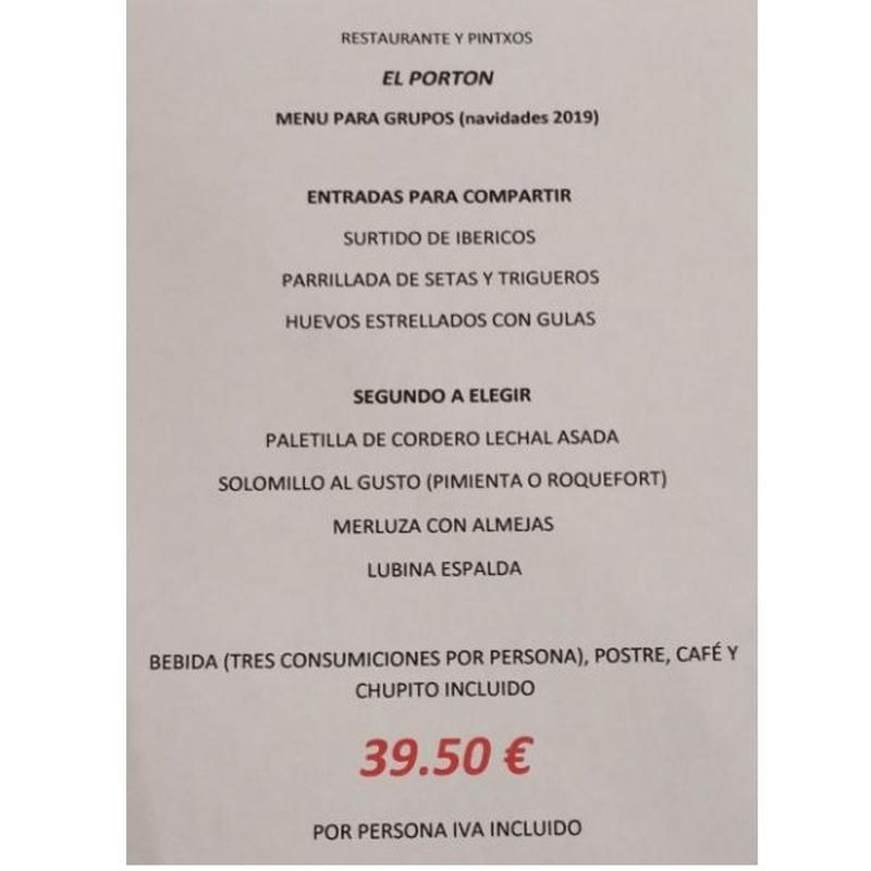 Menú Grupos 2: Carta y Raciones de Restaurante El Portón