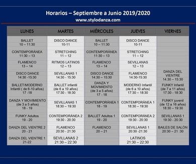 Horarios Curso 2019-20