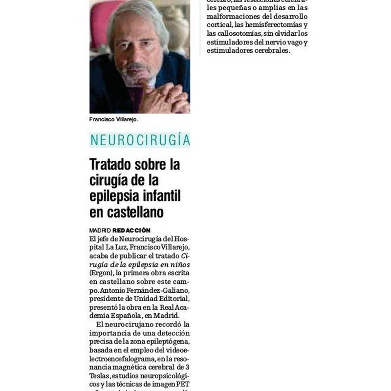 Artículo en el periódico Diario médico: Especialidades y publicaciones de Doctor Villarejo
