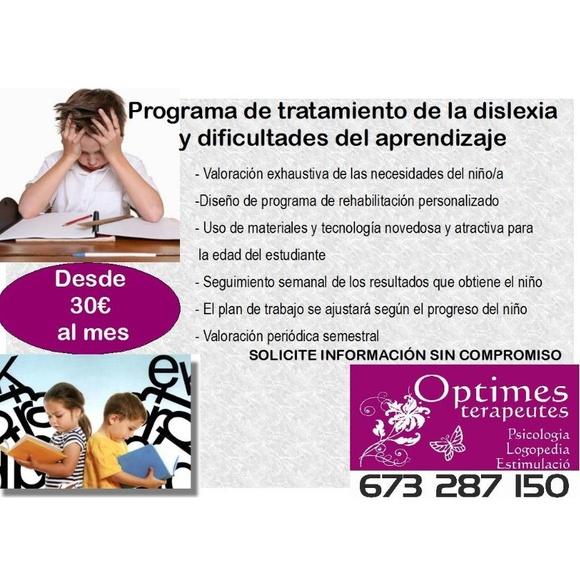Dislexia y problemas de aprendizaje: Servicios de Optimes Terapeutes