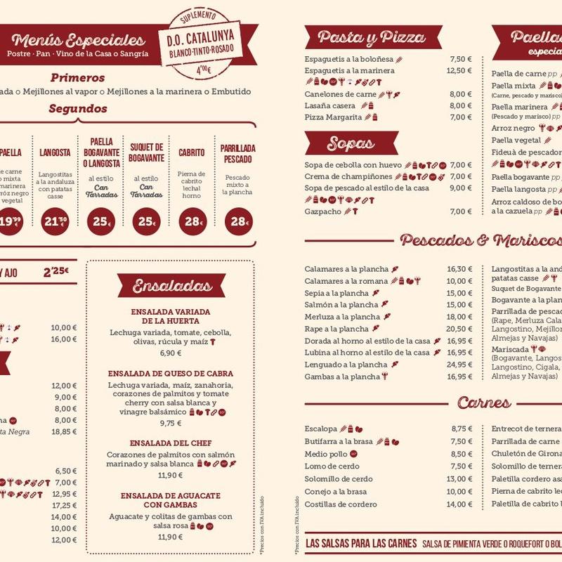 Carta menús especiales en Español: Carta y Menús de Cantarradas
