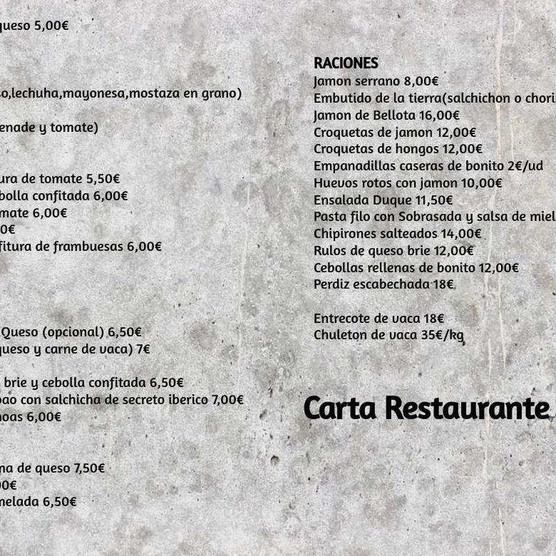 Carta restaurante: Carta de Restaurante Duque
