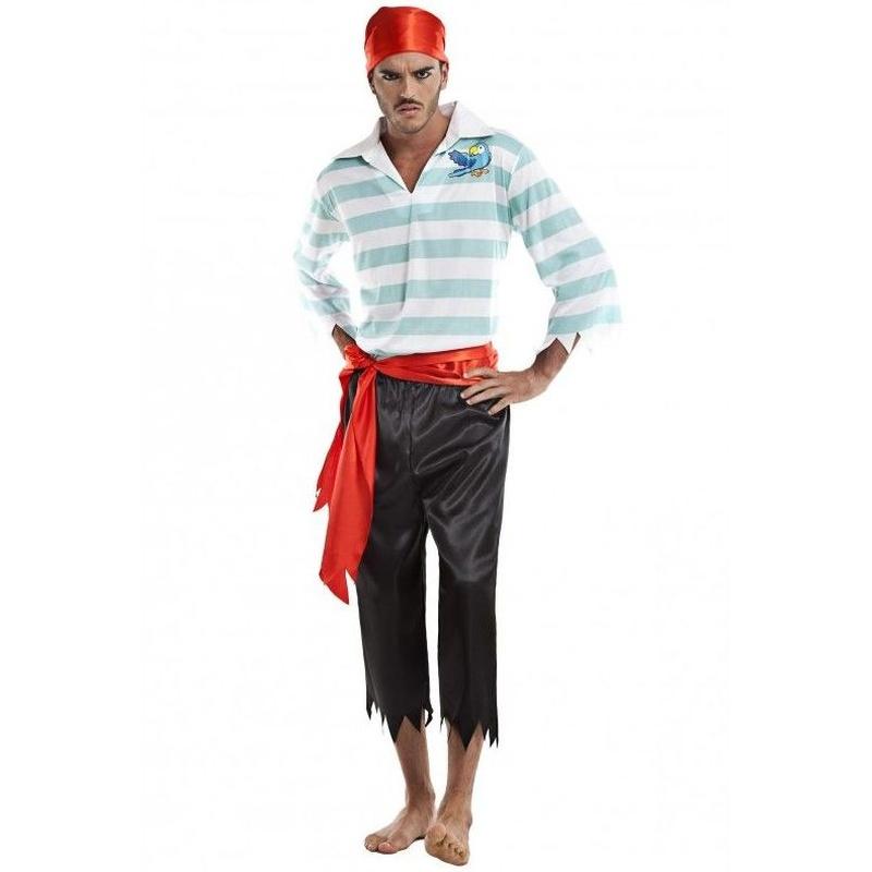 Disfraz pirata rayas azul hombre