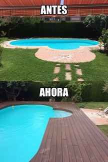 Tarima tecnológica en piscina con curvas