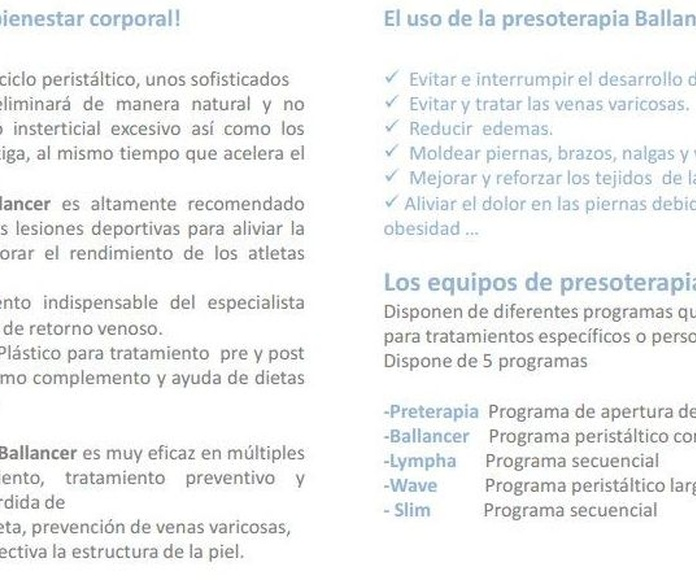 Tratamientos de presoterapia Ballancer en Madrid