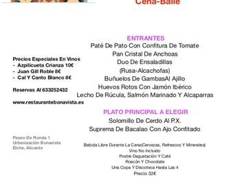 Menú Cena Personalizable: Carta y Menús de Restaurante Bonavista