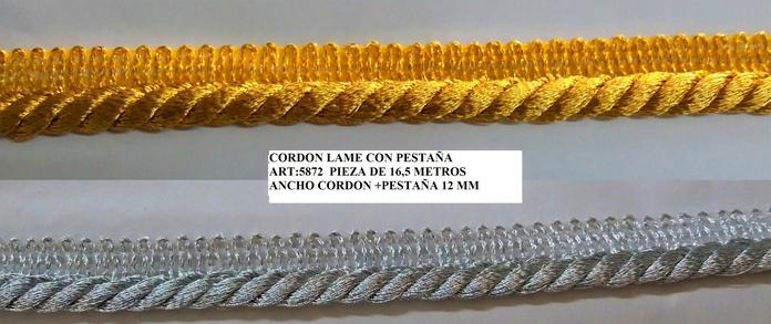 CORDON LAME CON PESTAÑA ART:5872: Catálogo de J.G. Merceros