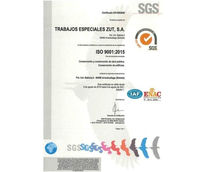 Certificación ISO 9001:2015. Medio ambiente y prevención de riesgos: Servicios de Trabajos Especiales ZUT