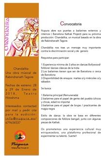 CONVOCATORIA- próxima producción: Chandalika, un musical basado en la obra de Rabindranath Tagore.