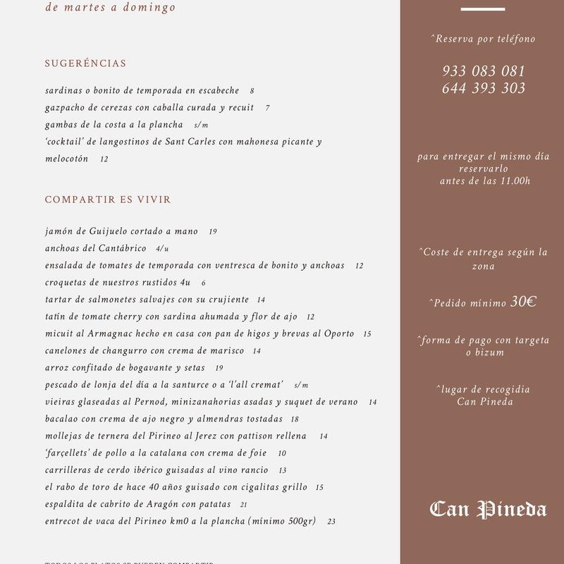 Menú para llevar.: Nuestros servicios de CAN PINEDA