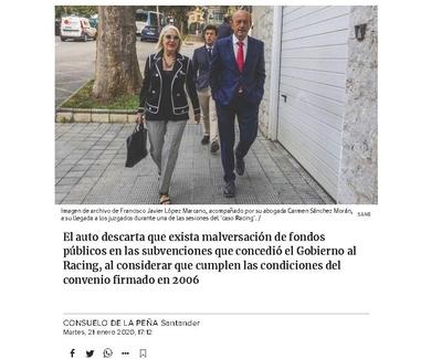 El juez da carpetazo definitivo al 'caso Racing' y rehabilita a Marcano (El Diario Montañés)