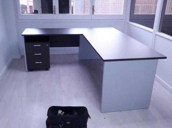 Composición de mesa de 180 cm. +ala + buc en  color Wengué/Aluminio.