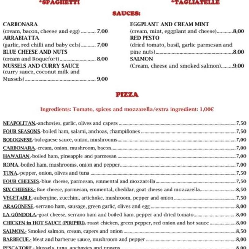Menú en Inglés: Carta de Pizzería Restaurante La Góndola