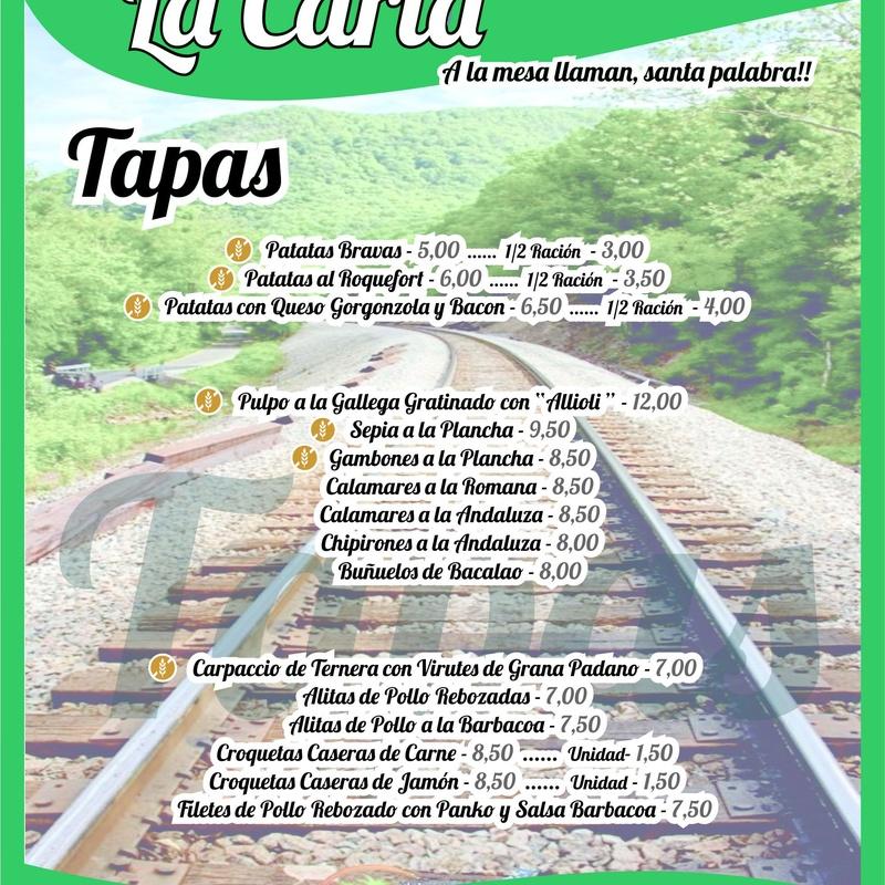 Carta Lo Carrilet Castellano - Tapas