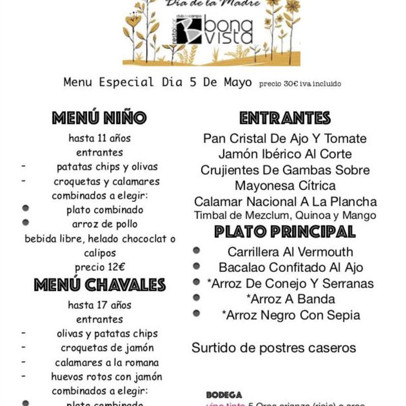 Menú Día de la Madre: Carta y Menús de Restaurante Bonavista