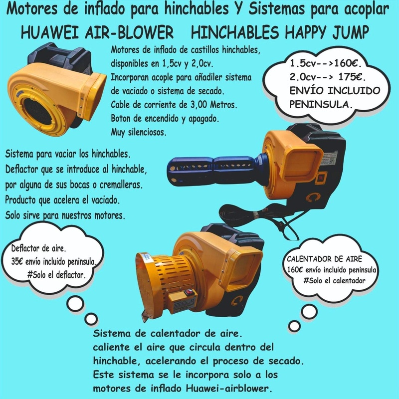 Turbina de inflado huawei air blower: Catálogo de Hinchables Happy Jump