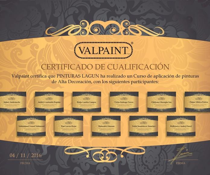 Jornada formativa productos Valpaint Noviembre 2016 diplomas de asistencia