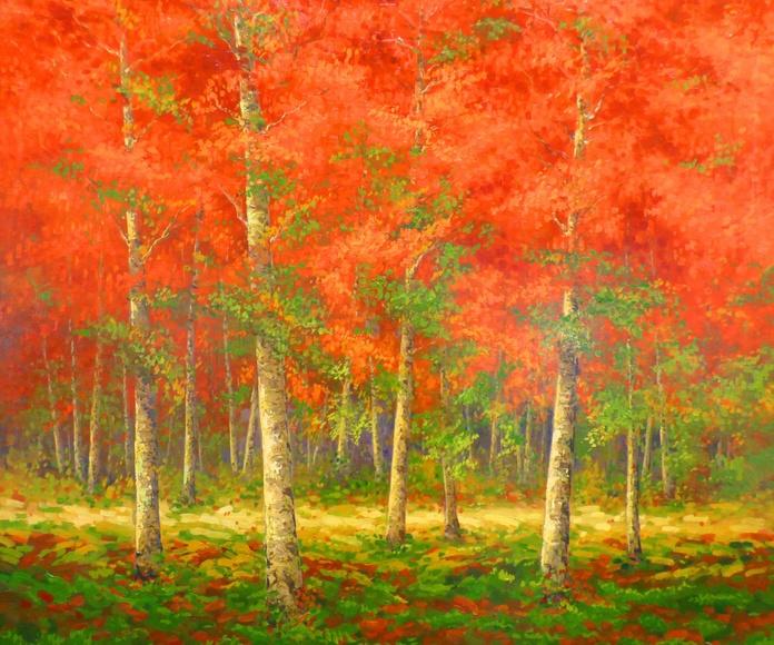 El Bosque Rojo. Óleo sobre panel de madera. 100x100.