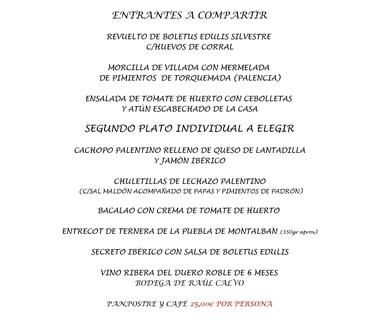 Menú especial día del Pilar 2019 en C/ Andrómeda . Taberna Tres Hermanos