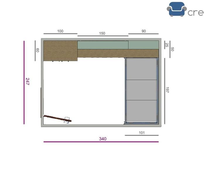 Dormitorio Juvenil IH083 - Plano de medidas.