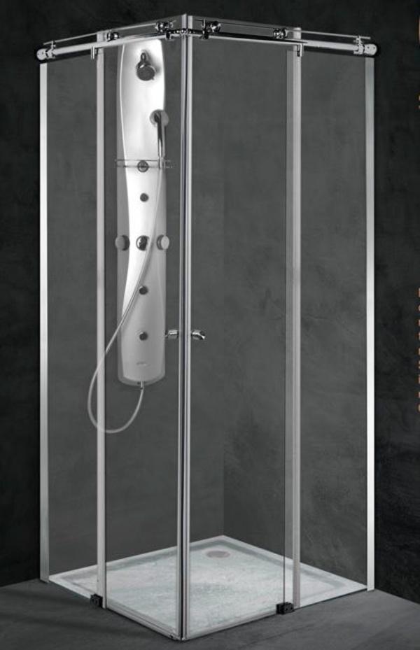 Mampara angular ducha Inox-Atlas (2hojas fijas + 2 correderas)