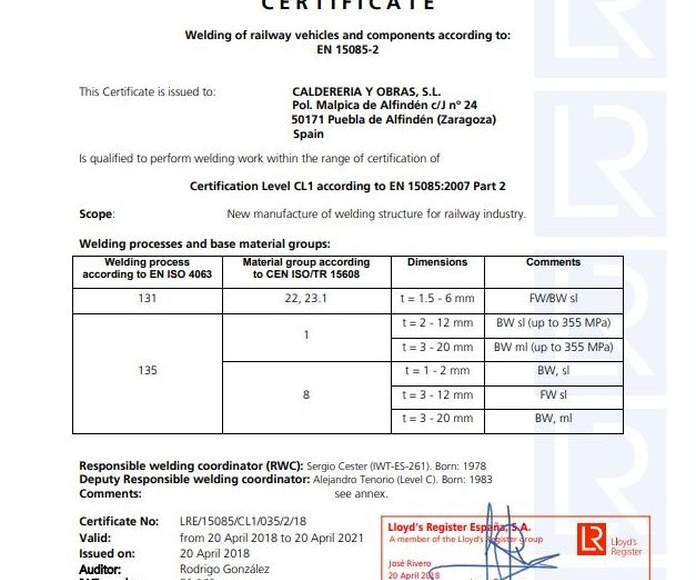 Certificado Llloyd's Register CL1