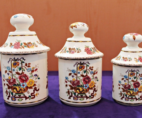 3 Tarros de porcelana San Claudio colección MADRÁS.
