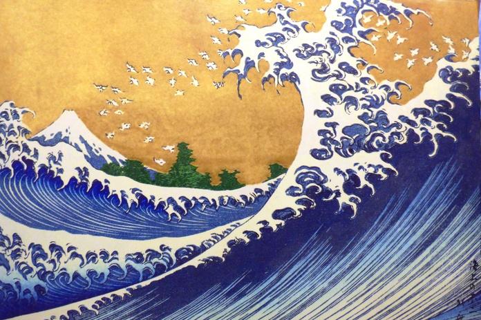 La Gran Ola. Reproducción. Panel de madera barnizado. 120x90. 160,00€