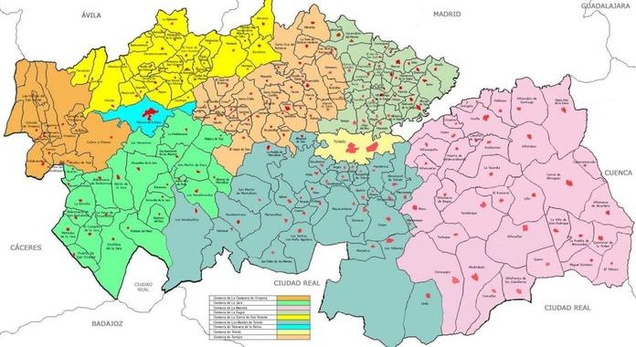 Zonas de trabajo en la Provincia de Toledo
